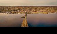 A drone photograph of the Stillwater Bridge across the St. Croix River
