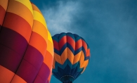 Hot air balloons in the sky during the Hudson Hot Air Affair