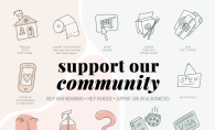 A graphic showing ways to support your community during the COVID-19 (coronavirus) pandemic.