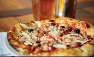 A pizza from Manger, a new restaurant in Bayport.
