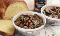 Steak, mushroom and ale soup made with a recipe by NellieBellie