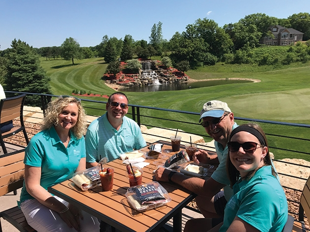 Stacy Herink, Vince Dreyer, Rick Nelson, Cassie Cook at the Hudson Hospital Golf Tournament