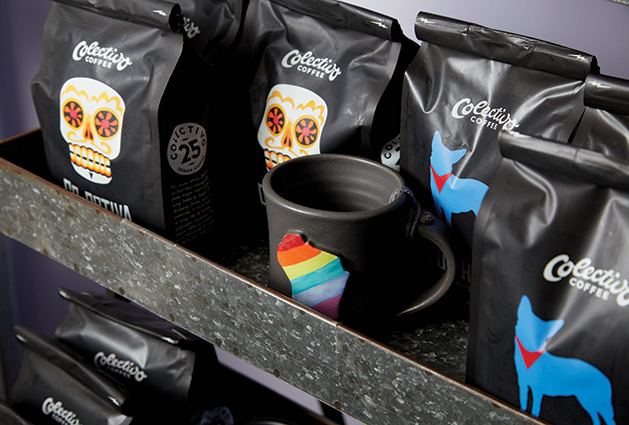 Bags of Colectivo Coffee sit next to a Wisconsin mug at The Purple Tree gift shop.