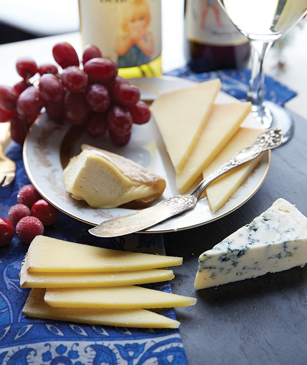 A cheese plate and wines from Belle Vinez Winery, a winery in the St. Croix Valley.