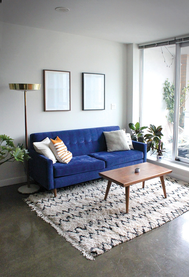 A living room featuring midcentury modern design.