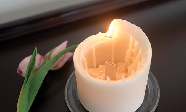 A spiral candle from Afton Candle Company.
