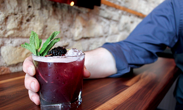 A Blackberry Smash cocktail from Brick & Bourbon