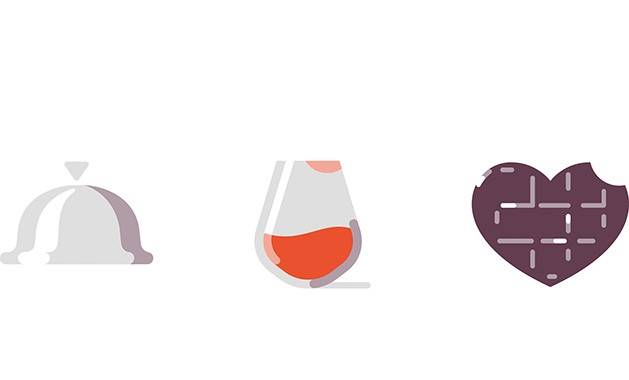Illustrated icons of a dinner platter, a wine glass and a heart.