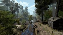A screenshot of the St. Croix River from the video game Tombeaux, designed by Dave Beck