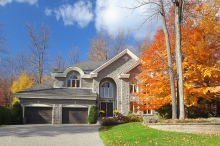 A newly remodeled home in the fall.