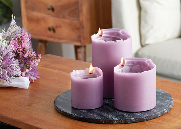 Purple spiral candles from Afton Candle Company.