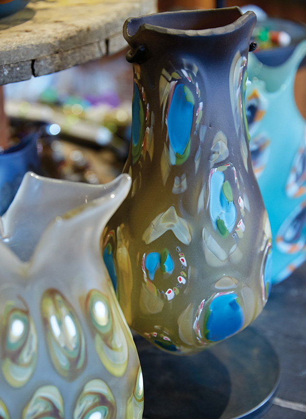 Blown glass by Marlo Cronquist on display at Smith + Trade Mercantile
