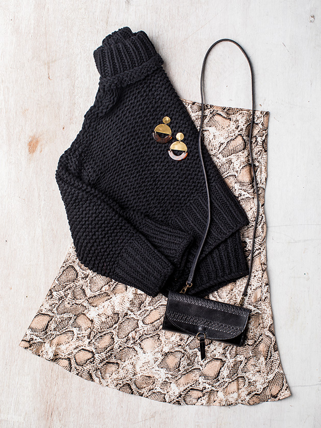 A sweater, skirt, earrings and purse from Kenzington Boutique